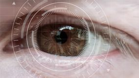 Human eye and abstract hi-tech circle. Macro eye and VR surveillance system. Male eye with abstract hi-tech circle element. Human being futuristic vision stock video footage