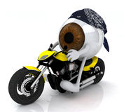 Human eye with arms and legs on the motorbike Royalty Free Stock Image