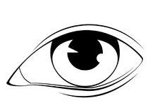 Human eye in black and white vector illustration