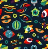 Human eye blinker abstract badge vector illustration seamless pattern background Stock Image