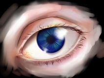 Human eye with blue iris. Hand drawn digital art sketch of human eye with blue iris. Close up, with minute details like tiny blood vessels and eyelashes Stock Images