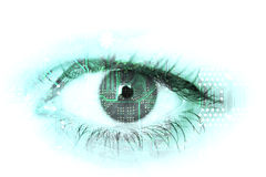 Human eye with circuit board. stock photography