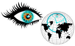 The human eye, clock and globe, look over time Stock Images