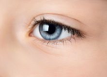 Human eye. Close up of blue eye.  Side view, selective focus Royalty Free Stock Images