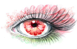 Human eye with flower Stock Photos