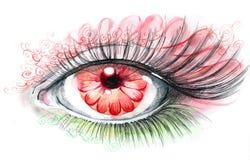 Human eye with flower Stock Photos