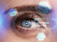 Human eye with futuristic interface. Technology. Augmented reality. stock photos