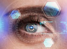 Human eye with futuristic interface. Technology. Augmented reality. Human eye with futuristic interface. Technology. Augmented reality Royalty Free Stock Images