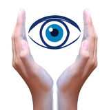 Human eye in hand Stock Photography