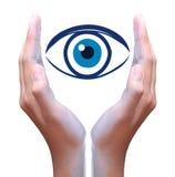 Human eye in hand Stock Photography
