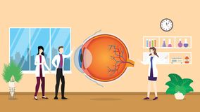 Human eye health care checkup analysis identifying by doctor people on the hospital -  vector illustration