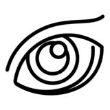 Human eye icon, outline style stock illustration