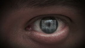 Human eye with integrated barcode in it. cyborg stock video footage