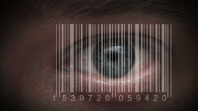 Human eye with integrated barcode in it. cyborg stock video