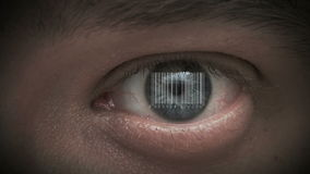 Human eye with integrated barcode in it. cyborg. Human eye with integrated barcode in it. cybor royalty free illustration