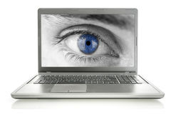 Human eye on laptop screen Royalty Free Stock Photography