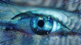 Human eye. Macro video of a human eye with binary code projections stock video