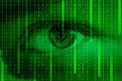 Human eye and matrix background with binary code - futuristic illustration royalty free illustration