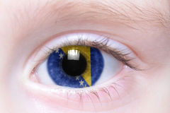 Human eye with national flag of bosnia and herzegovina Royalty Free Stock Photography