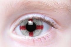 Human eye with national flag of england. Human`s eye with national flag of england Stock Photos