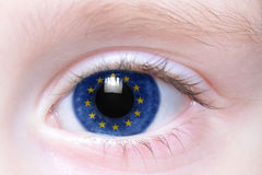 Human eye with national flag of european union Royalty Free Stock Image