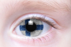 Human eye with national flag of finland Stock Photography