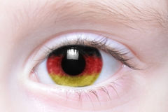 Human eye with national flag of germany Royalty Free Stock Images