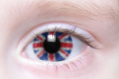 Human eye with national flag of great britain Stock Photos