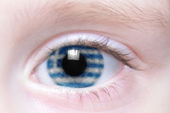 Human eye with national flag of greece Stock Image
