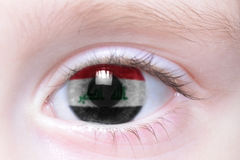 Human eye with national flag of iraq royalty free stock images