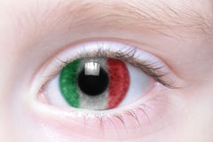 Human eye with national flag of italy Royalty Free Stock Photo
