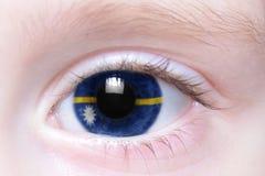 Human eye with national flag of nauru Stock Photography