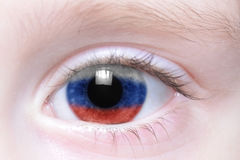 Human eye with national flag of russia Stock Photography
