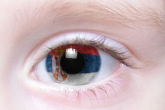 Human eye with national flag of serbia Royalty Free Stock Photos