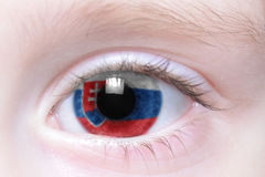 Human eye with national flag of slovakia Royalty Free Stock Photography