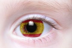 Human eye with national flag of spain Royalty Free Stock Photo