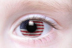 Human eye with national flag of united states of america royalty free stock images