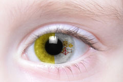 Human eye with national flag of vatican Royalty Free Stock Photography