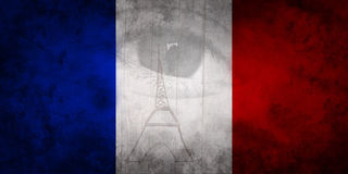 Human eye and Paris Eiffel Tower on French flag colors blue white red Royalty Free Stock Image