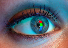 Human eye with RGB-signal reflection. stock photos