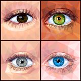 Human eye set in polygon style. Human eye set colorful realistic low poly designs isolated on dark background. Vector illustration of different eye and skin stock illustration