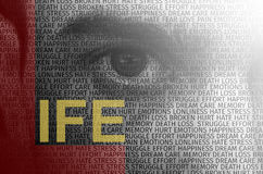 Human eye with text overlay containing words describing life Stock Images