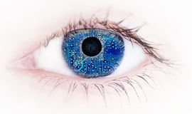 Free Human Eye With With Electronic Circuit Board Reflection , Abstract Stock Photos - 130247713