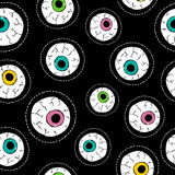 Human eyeball hand drawn stitch patch pattern Stock Images