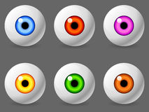 Human eyeballs. Set of 6 human eyeballs with color iris Royalty Free Stock Photo