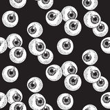 Human eyeballs seamless pattern hand drawn print design vector illustration.  Royalty Free Stock Photo