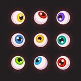 Human eyeballs set. Different colors. Cartoon Halloween design elements. Vector illustration Royalty Free Stock Photos