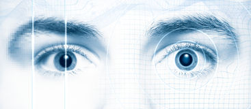Human eyes digital hi-tech style. Human eyes. Digital hi-tech style. Blue tint Royalty Free Stock Photo