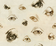 Human Eyes - seamles illustration. Hand drawings. Royalty Free Stock Image