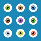 Human eyes set isolated on blue background. Colorful eyeballs iris pupils. Vector Illustration Stock Image